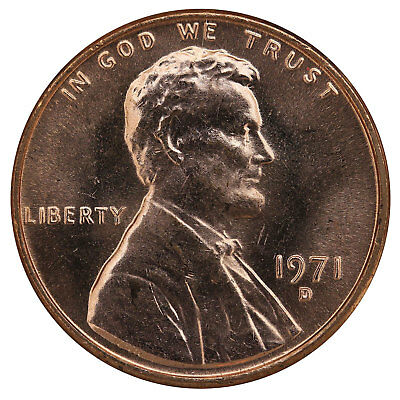 1971 D Lincoln Memorial Cent BU Penny US Coin