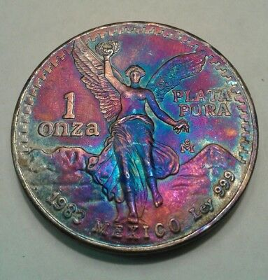 1983 -  Mexican Libertad 1oz Silver Coin With Beautiful Toning, Toned...