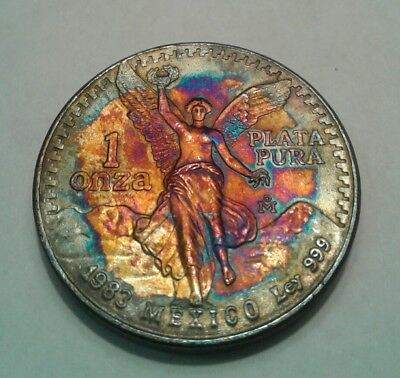 1983 -  Mexican Libertad 1oz Silver Coin With Beautiful Toning, Toned....