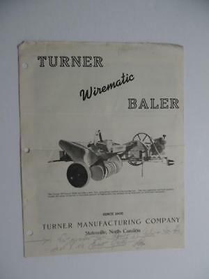 c.1949 Turner Mfg Co Wirematic Hay Baler Catalog Brochure Statesville NC Vintage