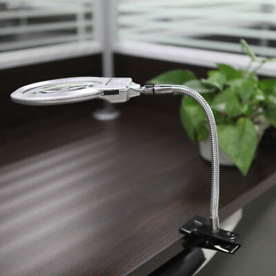 2.5X 5X LED Magnifier Metal Jewelry Magnifying Glass Reading Lamp with Clamp