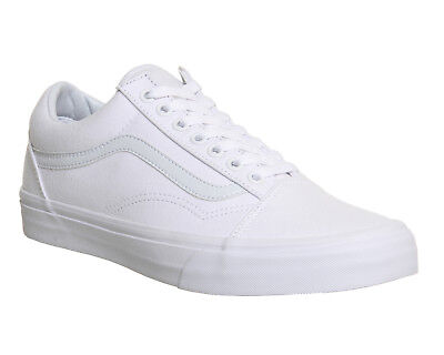 Mens Vans White Canvas Lace Up Trainers Size Uk 10 Ex Display Eur