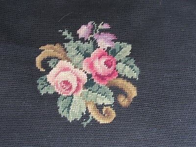 "Antique Needlepoint Pillow Cover 14"" Square Floral Bouquet Velvet on Back Side"