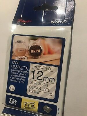 GENUINE BROTHER PTOUCH TZE TAPE 12mm x 4m Black On Clear