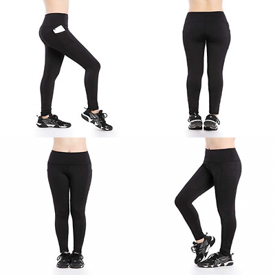 599a29414356e Women s Athletic Leggings Workout Running Yoga Pants W Pockets BLACK Small