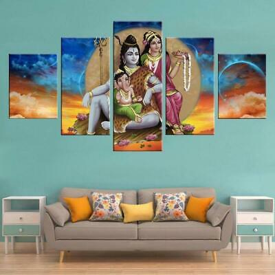 Ganesh Shiva Parvati Canvas Art Print for Wall Decor Painting