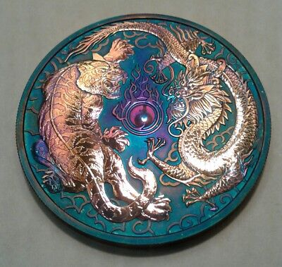 2018 - Australia  Dragon & Tiger 1oz Silver Coin with Beautiful toning.TONED  ..
