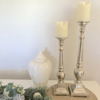 Set of 2 Silver Candlesticks/Metal Candle Holders/Hampton's French Provincial