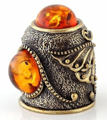 Butterfly Brass Bronze Thimble Russian Baltic Amber Collectible Souvenir 1 1/8""