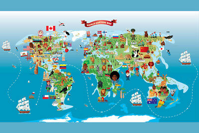 Map of the World Cartoon Style Kids Cute Classroom Poster 12x18