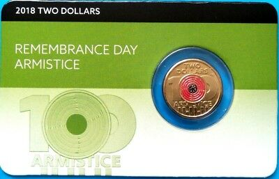 2018 $2  Remembrance Day, Armistice Centenary Carded Uncirculated Coin