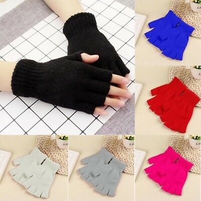 Unisex Gloves Mitten Fingerless Knitted Crochet Half-Fingers Adult Winter