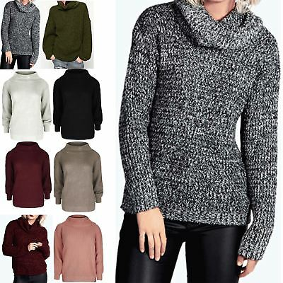 Womens Chunky Knitted Full Sleeve Oversized Ladies Roll Cowl Neck Jumper Tops