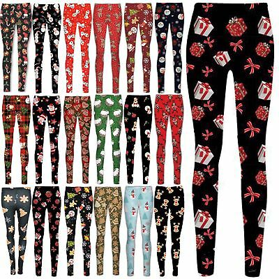 Kids Girls Christmas Leggings Ginger Bread Tree Stretchy Full Length Jeggings