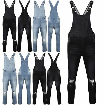 Womens Faded Denim Dungarees Ladies Slim Ripped Light Black Wash Jeans Jumpsuit