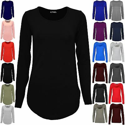 Womens Ladies Stretchy Plain Casual Curved Hem Round Neck Jersey Tee Shirt Top