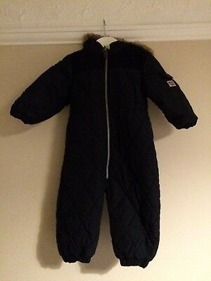 81e523a45b7f BABY BOYS JOHN Lewis Snowsuit Blue with Detachable Mittens Size 12 ...