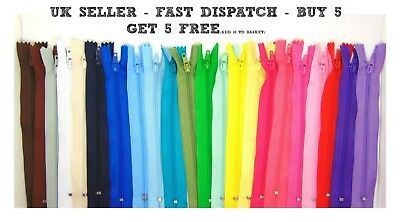 "6"" 8"" 10"" Nylon Zips for Sewing & Crafts Zippers Closed End Auto Lock Colours"