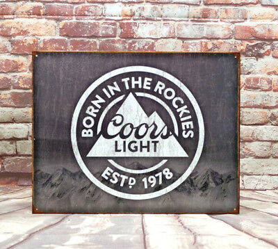 Desperate Enterprises Coors Light Born in The Rockies Beer Tin Sign 16 X 12