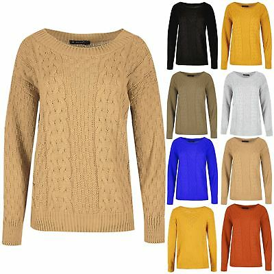 Womens Ladies Long Sleeves Round Neck Grid Knitted Oversized Baggy Jumper Top