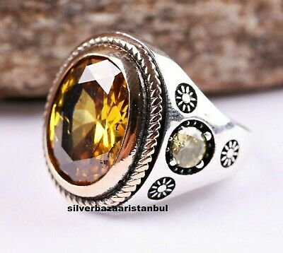 New Yellow Citrine Stone Turkish 925 Silver Handmade Men Solid Ring ALL SİZE USA