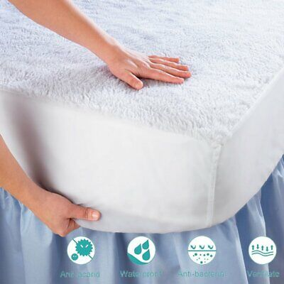 WATERPROOF MATTRESS COVER Terry Cotton All Size Hypoallergenic Bed Pad Protector