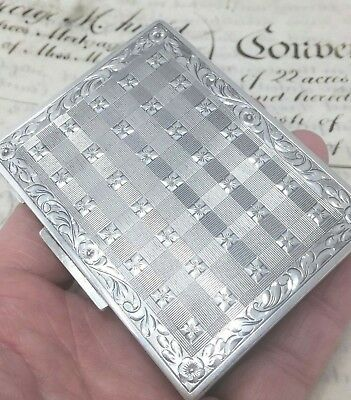Antique SILVER Card Case 900 Engine Turned & Hand Chased QTY Elaborate HM 94g