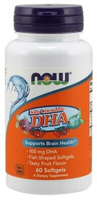 NOW Foods  DHA Kid's Chewable, 100mg - 60 softgels  Free P&P