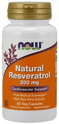 NOW Foods  Natural Resveratrol with Red Wine Extract, 200mg   Free P&P
