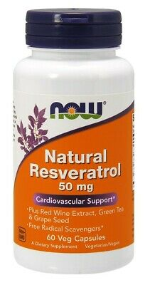 NOW Foods  Natural Resveratrol with Red Wine Extract, Green Tea & Grape Seed, 50