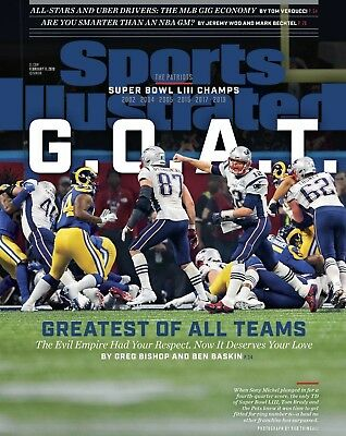 "Tom Brady ""GOAT"" Super Bowl 53 Sports Illustrated cover photo - select size"