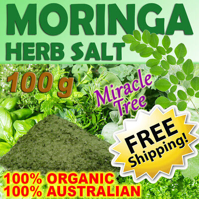 ORGANIC MORINGA HERB SALT 100g ~ 100% AUSTRALIAN GROWN! ~ ORGANIC MORINGA POWDER