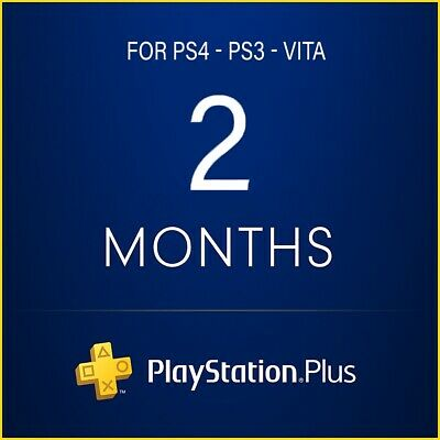 PSN 2 months Playstation PS Plus PS4-PS3-Vita