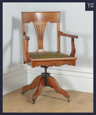 Antique Edwardian Art Nouveau Cherrywood Leather Revolving Office Desk Arm Chair