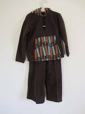 unisex 70's hoodie & trousers brown world book day cosstume retro new age 2
