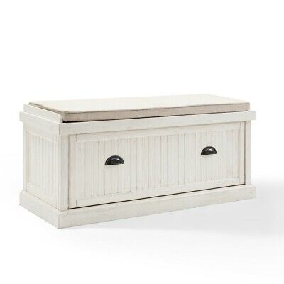 Crosley Seaside Entryway Bench, Distressed White - CF6011-WH