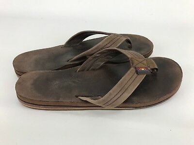 a563e5bc33951 Rainbow Flip Flops Womens Sz 7.5-8.5 Brown Leather Strap Web Thong Large
