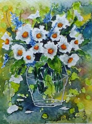 ACEO daisy flower original watercolor painting miniatur picture by Europe artist
