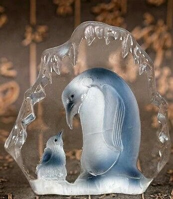Clear Crystal Glass Penguin & baby Standing Figure Decoration Birthday + box