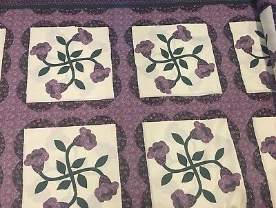 *FREE SHIPPING*King Size Cheater Quilt Top Lilies Lavender 90 x 108 (3 Yards)