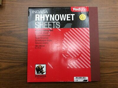 "INDASA RHYNOWET Red Line SANDPAPER 25 sheets 9"" x 11"" 1000 Grit"