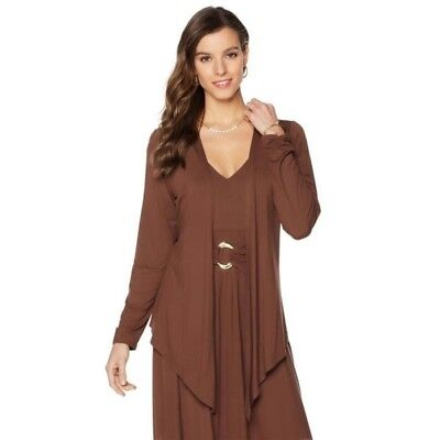 d7df41bfa370f3 Liz Lange Brown Ultimate Drape Front Stretch Knit Cardigan M New 524-730