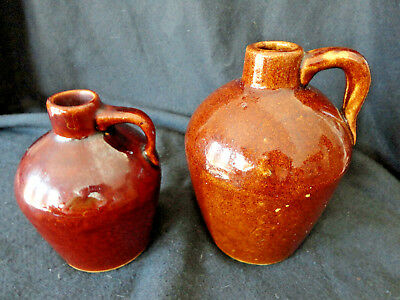 """Vtg """"roycroft"""" Pottery - Two (2) Small Rich Brown Jugs- Marked-Excellent"""