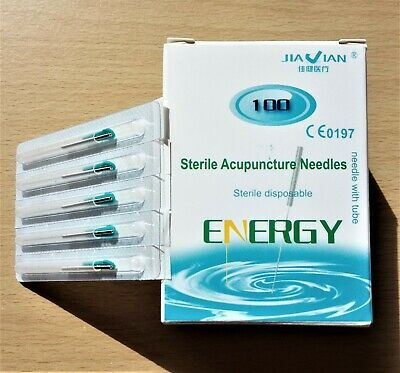 1pk 100 Acupuncture Needles Super Quality 0.25x25mm with Guide Tubes Energy