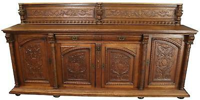Sideboard Mechelen Renaissance Oak Wood Vintage 1930 4-Door 2-Drawer