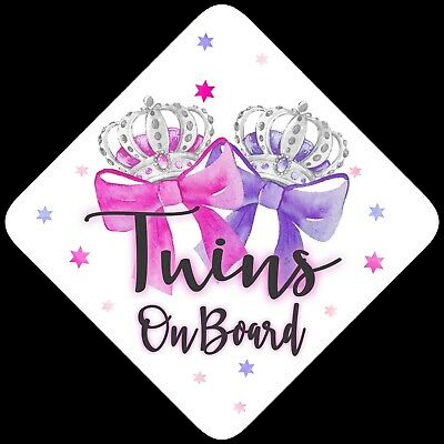 Twins on Board,Child Baby On Board Car sign Pink & Purp Bows Non Personalised