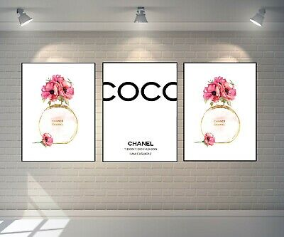 Set Of 3 Chanel Chance Perfume Bottle Prints A4 Art