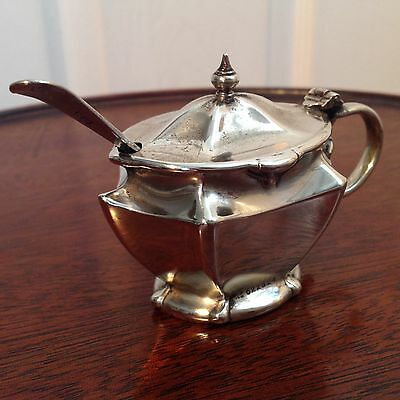 Art Nouveau Silver Plated Mustard Pot And Spoon With Glass Liner