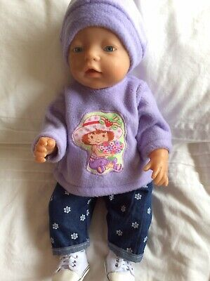 "Doll Clothes to fit 17"" Baby Born doll ~ 3 Piece Set. Mauve Strawberry Shortcake"