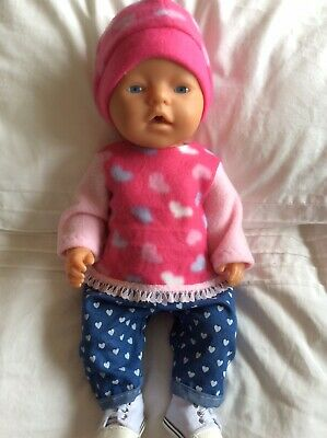 "Doll Clothes to fit 17"" Baby Born doll ~ 3 Piece Set. Pink ~ Hearts"